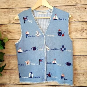 Vtg Vest Nautical Linen Blend M Beach Boats Fish